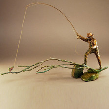"Trout and Fisherman Bronze Sculpture ""South Fork"" 21054 