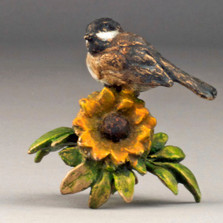 "Chickadee and Sunflower Bronze Sculpture ""Sunny Afternoon"" 72046 
