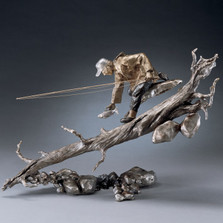 "Trout and Fisherman Bronze Sculpture ""The Release"" 76012 