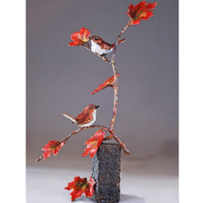 "Bird Pair and Branch Bronze Sculpture ""Tree for Two"" 72045 
