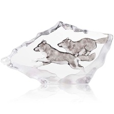 Wolves Running Crystal Sculpture | 34066 | Mats Jonasson Maleras