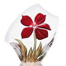 Obia  Red Flower Crystal Sculpture | 34018 | Mats Jonasson Maleras