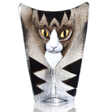 Cat Grey and Black Crystal Sculpture | 34220 | Mats Jonasson Maleras