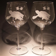 Sea Turtle Etched Crystal 18 oz Wine Glass Set of 2 | Evergreen Crystal | SS-08613