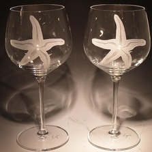 Starfish Etched Crystal 18 oz Wine Glass Set of 2 | Evergreen Crystal | SS-55613