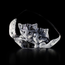 Cat Pair Crystal Sculpture | 33730 | Mats Jonasson Maleras