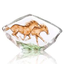 Horses Galloping Crystal Sculpture   34086   Mats Jonasson Maleras