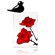 Blackbird with Red Roses Crystal Sculpture | 34079 | Mats Jonasson Maleras