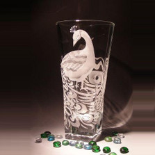 Peacock Flared Etched Crystal Vase | Evergreen Crystal | EC066-030