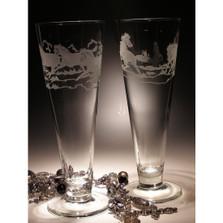 Stallion Horse Crystal Pilsner Glass Set of 2 | Evergreen Crystal | EC074stallion