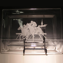 Racehorse Crystal Rectangle Tray | Evergreen Crystal | EC005-315