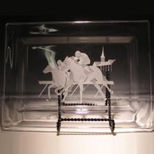 Racehorse Crystal Rectangle Tray | Evergreen Crystal | EC005-315