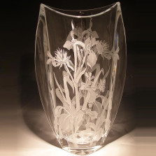 Iris and Butterfly Etched Crystal Tall Vase | Evergreen Crystal | EC014-031B