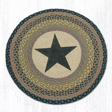Black Star Round Braided Rug | Capitol Earth Rugs | RP-99