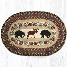 Bear and Moose Oval Braided Rug | Capitol Earth Rugs | OP-43BM