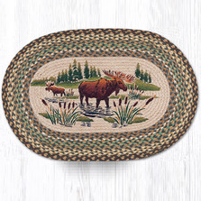 Moose Wading Oval Braided Rug | Capitol Earth Rugs | OP-51MW