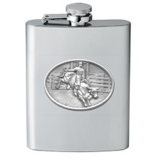 Bull and Cowboy Flask | Heritage Pewter | HPIFSK4246