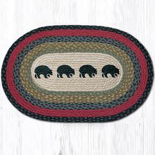 Black Bears Oval Braided Rug | Capitol Earth Rugs | OP-238BB
