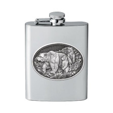 Grizzly Bear Flask | Heritage Pewter | HPIFSK105