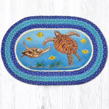Sea Turtle Oval Braided Rug | Capitol Earth Rugs | OP-384