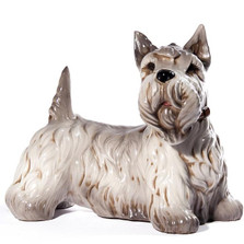Grey Scottish Terrier Ceramic Dog Sculpture | Intrada Italy | ANI9264