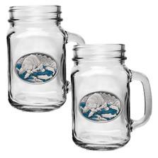 Brown Bear Mason Jar Mug Set of 2 | Heritage Pewter | HPIMJM118EB