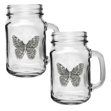 Butterfly Mason Jar Mug Set of 2 | Heritage Pewter | HPIMJM4053