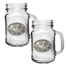 Cape Buffalo Mason Jar Mug Set of 2 | Heritage Pewter | HPIMJM121