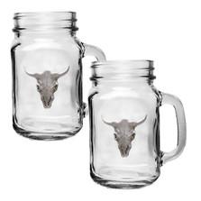 Longhorn Skull Mason Jar Mug Set of 2 | Heritage Pewter | HPIMJM3270