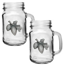 Pinecone Mason Jar Mug Set of 2 | Heritage Pewter | HPIMJM3022