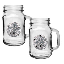Sand Dollar Mason Jar Mug Set of 2 | Heritage Pewter | HPIMJM3300