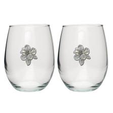 Apple Blossom Stemless Goblet Set of 2 | Heritage Pewter | HPISGB4278
