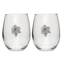 Apple Blossom Stemless Goblet Set of 2 | Heritage Pewter | HPISGB4278