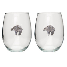 Bear Tribal Stemless Goblet Set of 2 | Heritage Pewter | HPISGB3060
