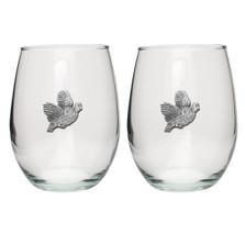 Bobwhite Quail Stemless Goblet Set of 2 | Heritage Pewter | HPISGB730