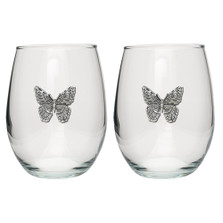 Butterfly Stemless Goblet Set of 2 | Heritage Pewter | HPISGB3090