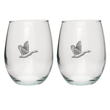 Canadian Goose Stemless Goblet Set of 2 | Heritage Pewter | HPISGB733