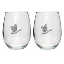 Canadian Goose Stemless Goblet Set of 2 | Heritage Pewter | HPISGB733