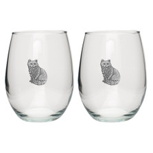 Cat Stemless Goblet Set of 2 | Heritage Pewter | HPISGB3107