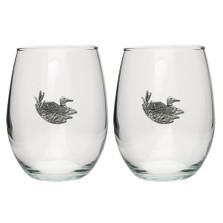 Loon Stemless Goblet Set of 2 | Heritage Pewter | HPISGB3120