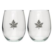 Maple Leaf Stemless Goblet Set of 2 | Heritage Pewter | HPISGB3131