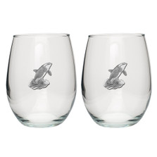 Orca Whale Stemless Goblet Set of 2 | Heritage Pewter | HPISGB3089