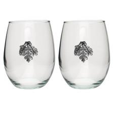 Oak Leaf Stemless Goblet Set of 2 | Heritage Pewter | HPISGB3149