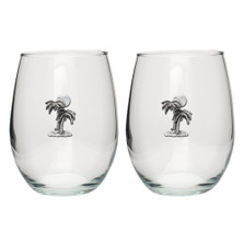 Palm Tree Stemless Goblet Set of 2 | Heritage Pewter | HPISGB3207