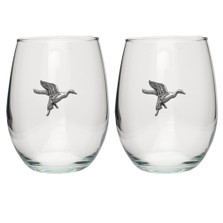 Pintail Duck Stemless Goblet Set of 2 | Heritage Pewter | HPISGB717