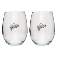 Salmon Fish Stemless Goblet Set of 2 | Heritage Pewter | HPISGB3011