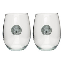 Sand Dollar Stemless Goblet Set of 2 | Heritage Pewter | HPISGB3041