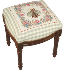 Bee Needlepoint Vanity Stool | Bee Stool | C600FS