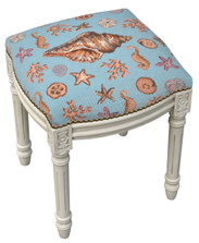 Sea Shell Needlepoint Vanity Stool | Shell Vanity Stool | C701WFS