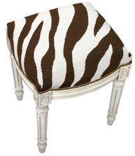 Zebra Stripe Needlepoint Vanity Stool | Zebra Vanity Stool | C728EWFS